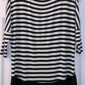 Emerald Brand Black & White Stripe Top. Size M